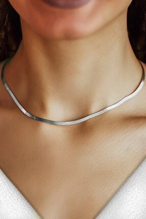 ENCİLİ SİLVER Kadın Gümüş Italyan Yassı Zincir Kolye 1