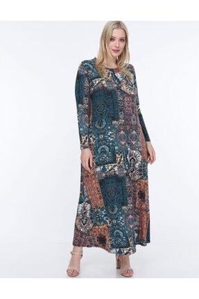 Şirin Butik Kadın Mavi Etnik Desen Yaka Pervazlı Viskon Elbise 2