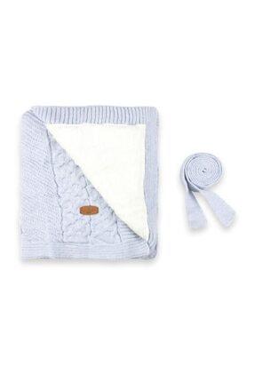 Pierre Cardin Unisex Bebek Açık Mavi İç Kısmı Welsoftlu Triko Battaniye 0