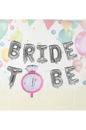 Patladı Gitti Tek Taşlı Bride To Be 9 Adet Harf Gümüş Renk Folyo Balon Seti, Bride To Bee Parti Kutlama 1