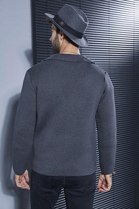 Sateen Men Erkek Antrasit Düğmeli Triko Ceket 2