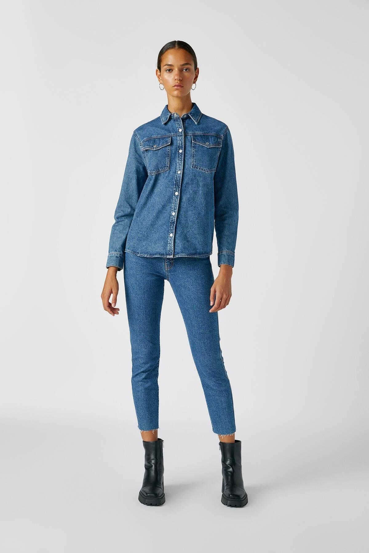 Pull & Bear Kadın Mavi Comfort Slim Fit Mom Jean 05682305 0