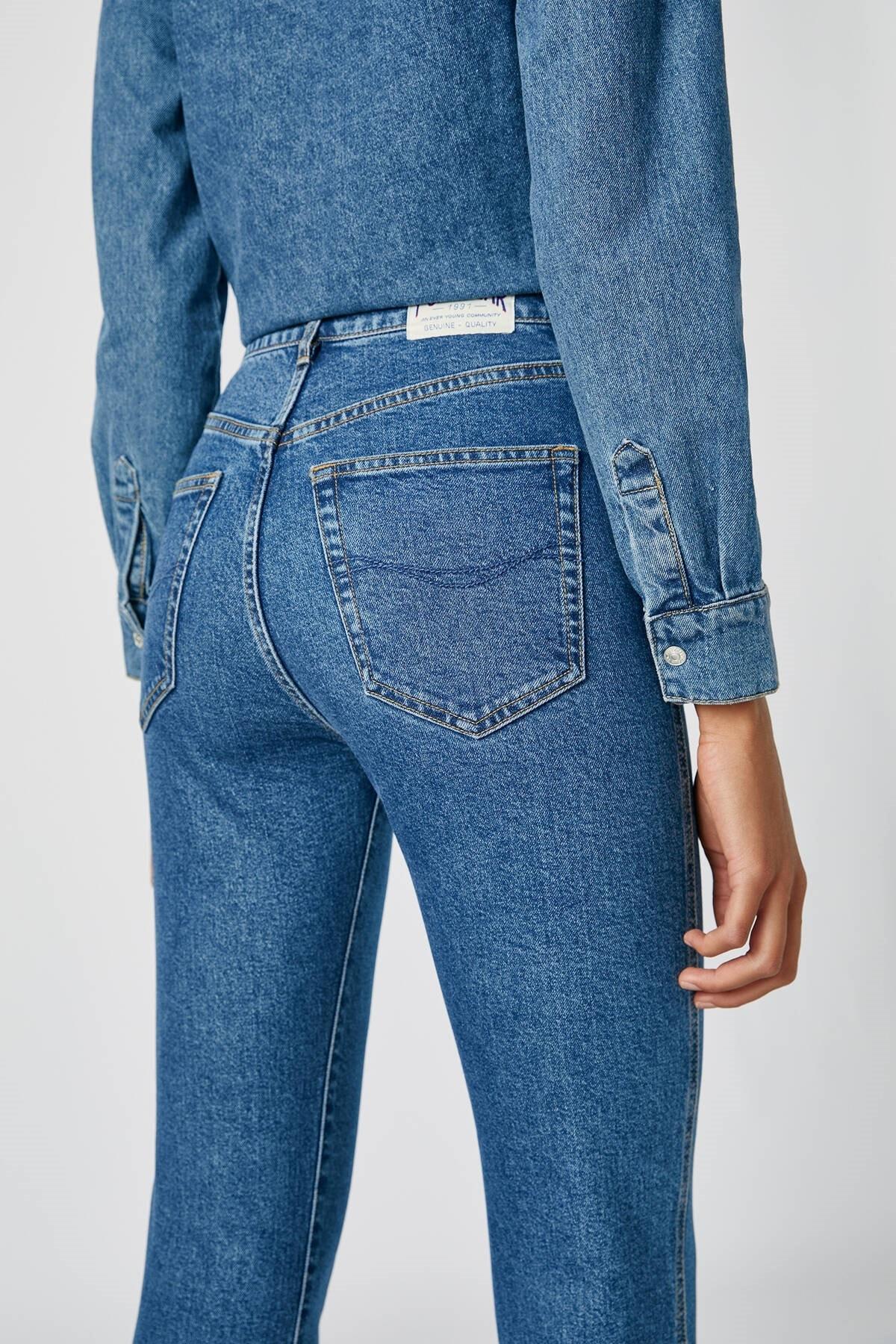 Pull & Bear Kadın Mavi Comfort Slim Fit Mom Jean 05682305 2