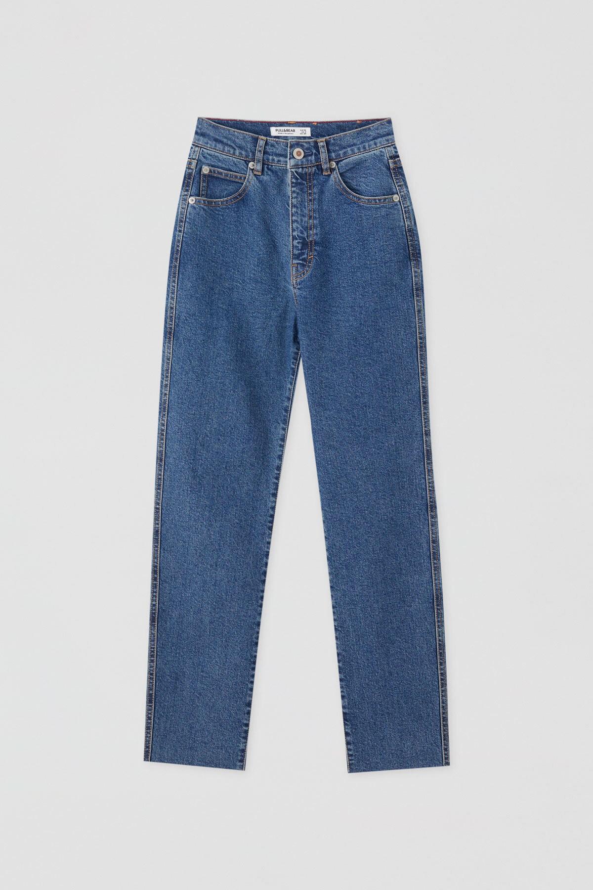 Pull & Bear Kadın Mavi Comfort Slim Fit Mom Jean 05682305 4