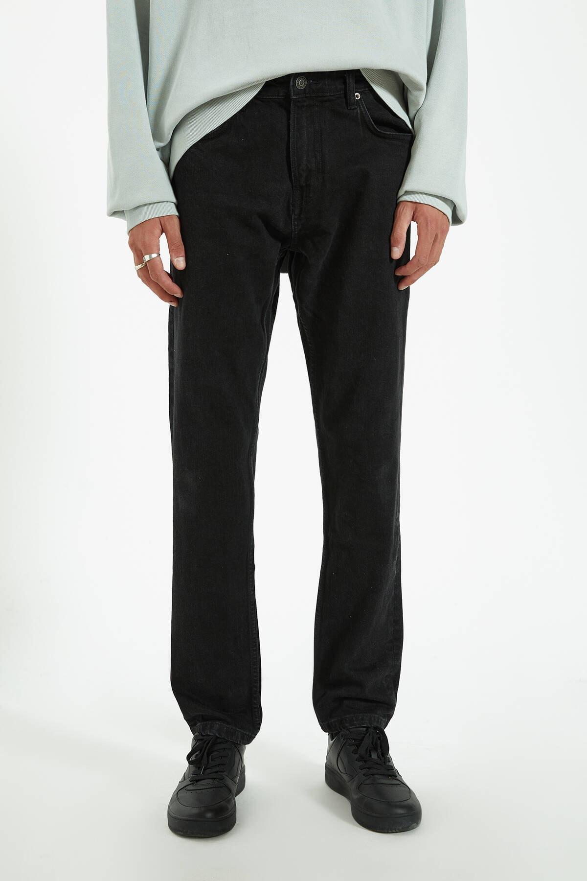 Pull & Bear Erkek Siyah Regular Comfort Fit Jean 09683540 2