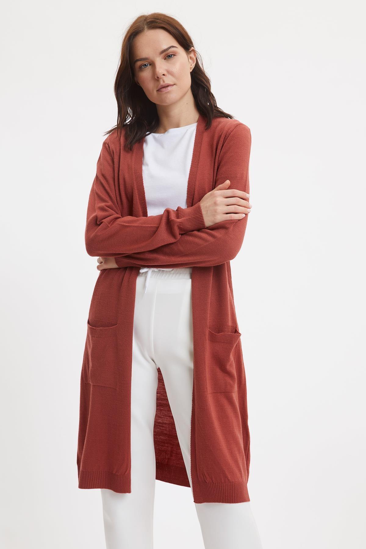 Defacto Kadın Uzun Basic Triko Hırka 1