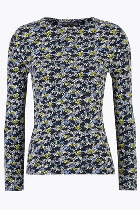 Marks & Spencer Kadın Lacivert Çiçek Desenli Uzun Kollu T-Shirt T41004580 3