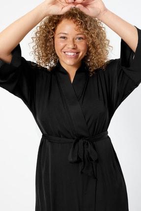 Marks & Spencer Kadın Siyah Saten Uzun Sabahlık T37008479W 1