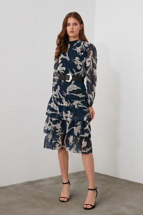 TRENDYOLMİLLA Lacivert Volanlı Elbise TWOAW21EL0354 1