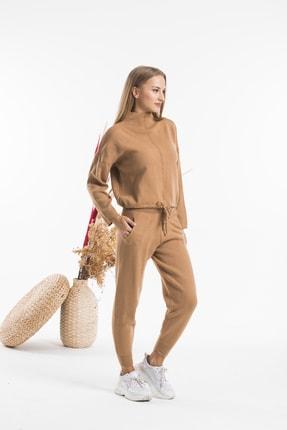 AFC Shop Kadın Camel Belden Bağlamalı Boğazlı 2'li Triko Alt Üst Takım 0