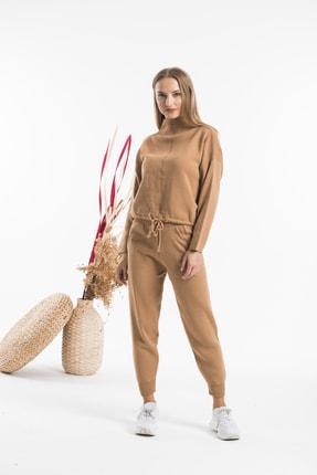 AFC Shop Kadın Camel Belden Bağlamalı Boğazlı 2'li Triko Alt Üst Takım 1