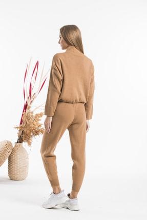 AFC Shop Kadın Camel Belden Bağlamalı Boğazlı 2'li Triko Alt Üst Takım 3