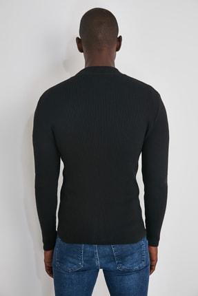 TRENDYOL MAN Siyah Erkek Uzun Kollu Önü Fermuarlı Triko Hırka TMNAW20HI0201 4