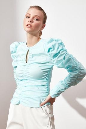 TRENDYOLMİLLA Mint Büzgülü Bluz TWOAW21BZ0722 1