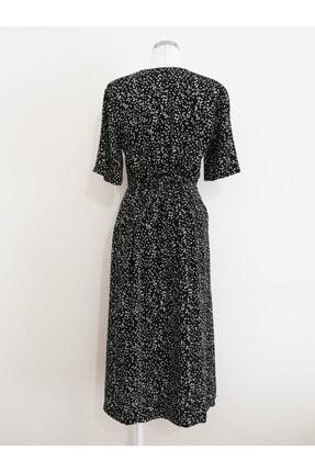 Vekem Kadın Siyah Belden Büzgülü V Yakalı Elbise 1