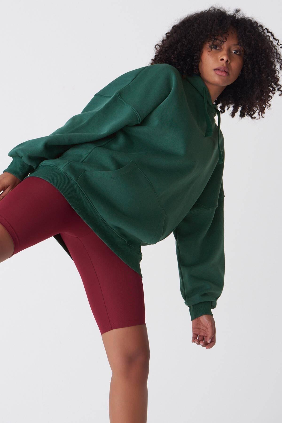 Addax Kadın Zümrüt Kapüşonlu Sweatshirt ADX-0000014040 0