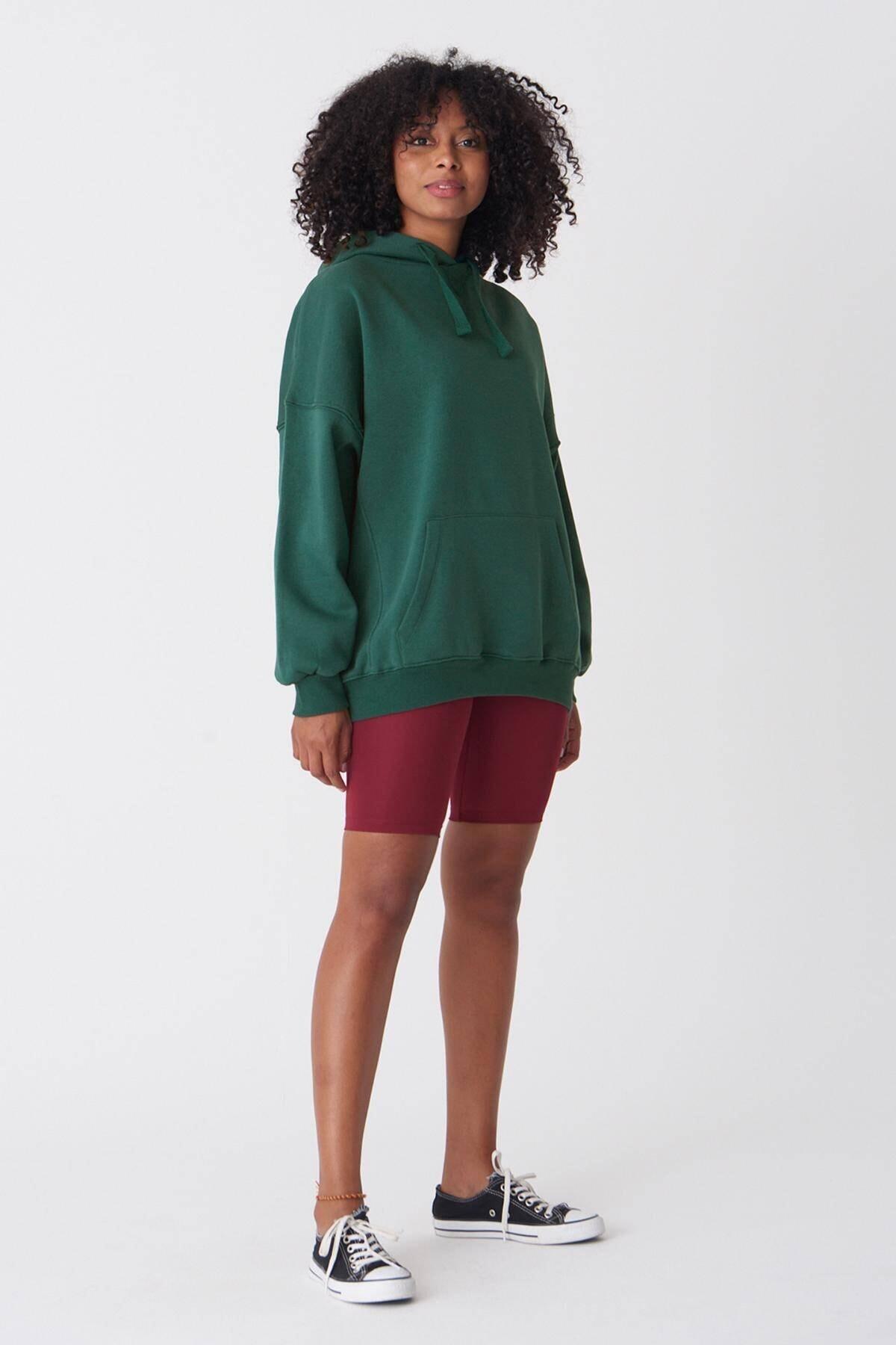 Addax Kadın Zümrüt Kapüşonlu Sweatshirt ADX-0000014040 2