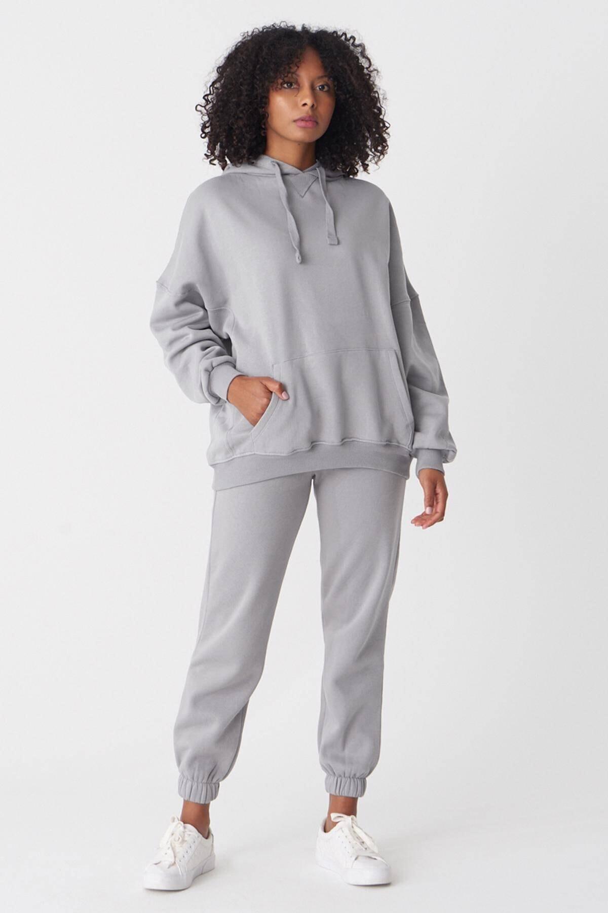 Addax Kadın Y.GRİ Kapşonlu Sweatshirt S0519 - U4 ADX-0000014040 1