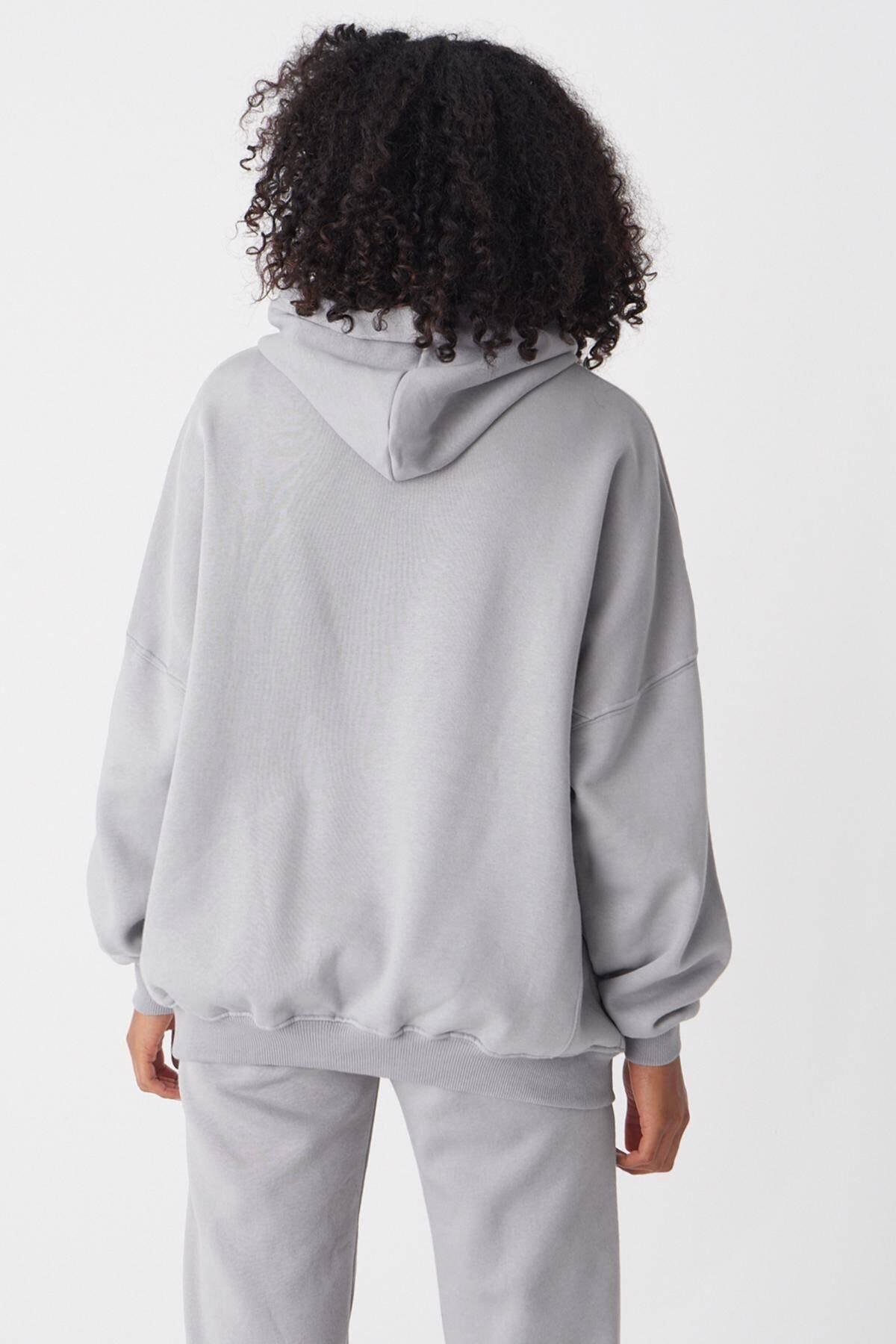 Addax Kadın Y.GRİ Kapşonlu Sweatshirt S0519 - U4 ADX-0000014040 4