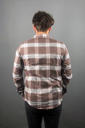 aksesuargo Erkek Kahverengi Kareli Oduncu Gömlek 2