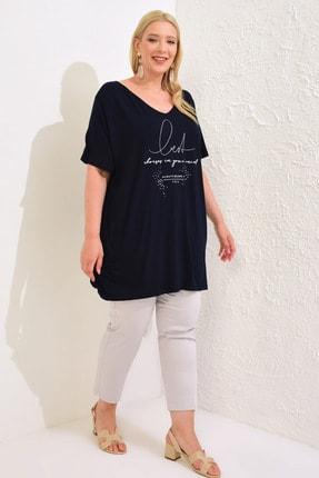 LC Waikiki Kadın Lacivert Tişört 0WBU06Z8 2