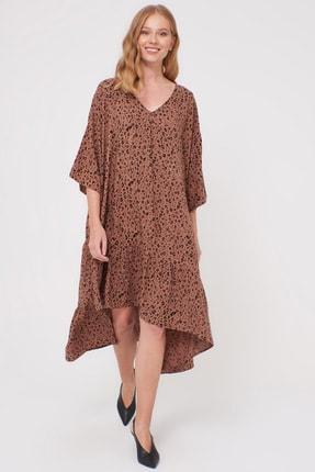 LC Waikiki Kadın Kahverengi Baskı Elbise 0WDF27Z8 0