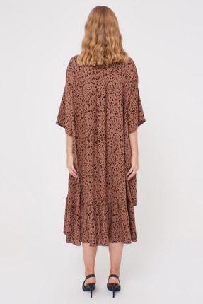 LC Waikiki Kadın Kahverengi Baskı Elbise 0WDF27Z8 4