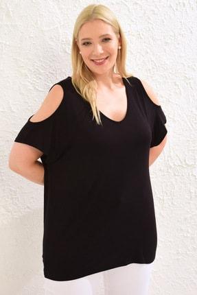 LC Waikiki Kadın Siyah Tişört 0WCC08Z8 0