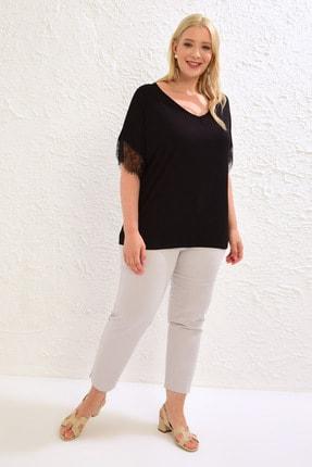LC Waikiki Kadın Siyah Tişört 0WCC22Z8 2