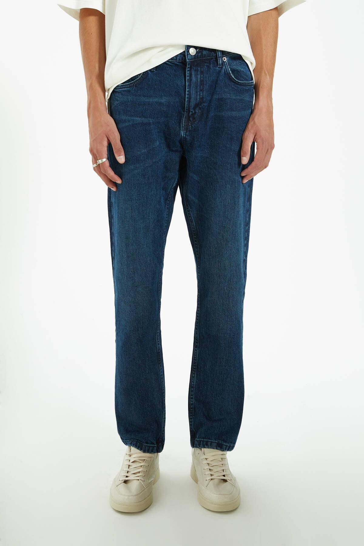 Pull & Bear Erkek Lacivert Regular Comfort Fit Jean 09683527 2