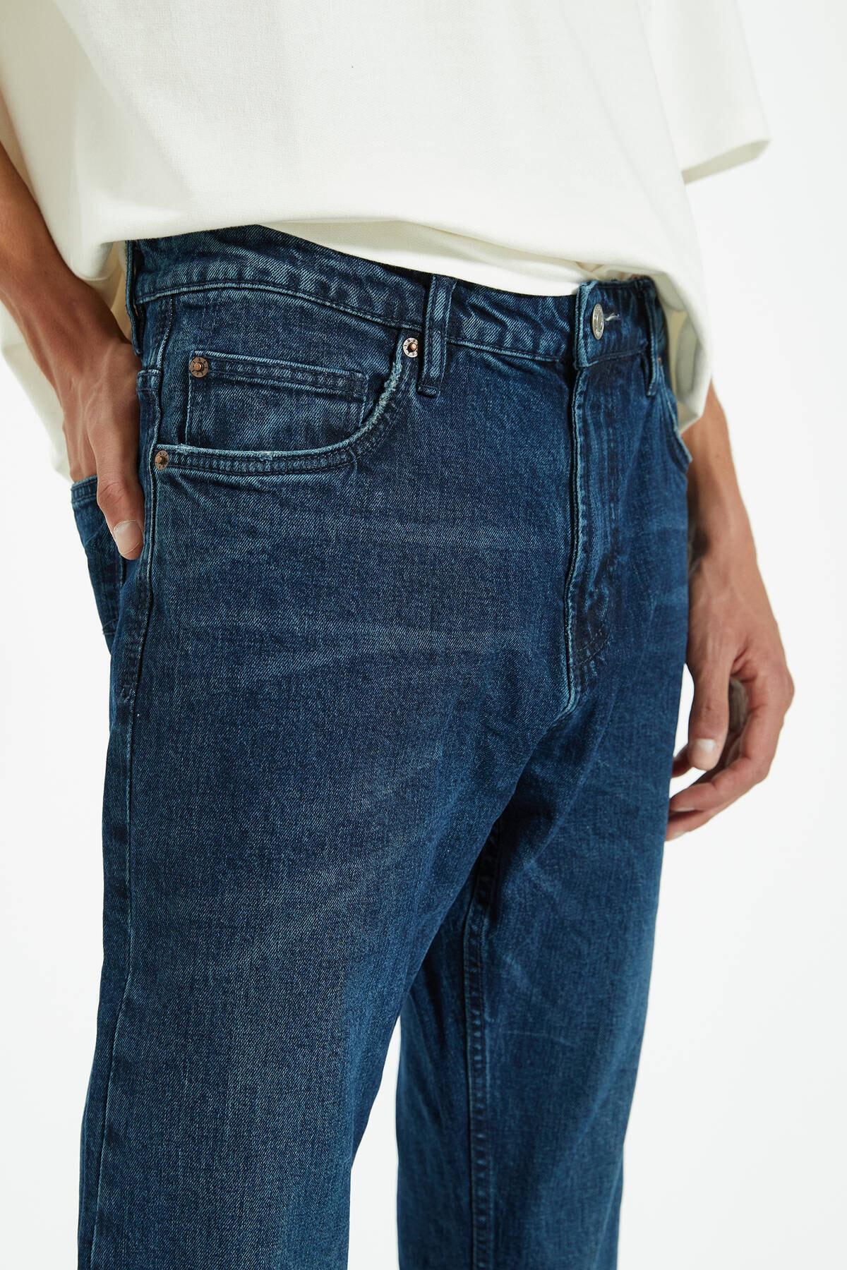 Pull & Bear Erkek Lacivert Regular Comfort Fit Jean 09683527 4