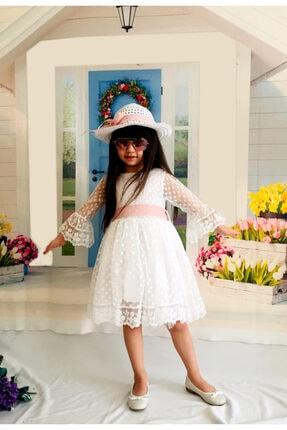 Mixie Şapkalı Güpürlü Prenses Kız Çocuk Beyaz Elbise 2