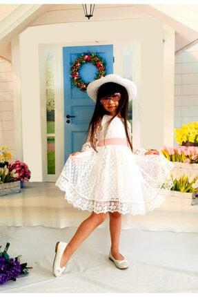 Mixie Şapkalı Güpürlü Prenses Kız Çocuk Beyaz Elbise 4
