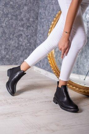 DİVOLYA Kadın Siyah Melly Yanı Lastikli Cilt Kısa Topuklu Günlük Bot 1