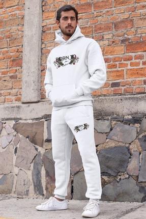 Angemiel Erkek Beyaz Born To Be Anyting  Kapşonlu Sweatshirt Eşofman Takımı 0