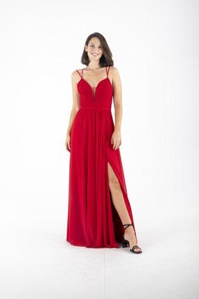 Ardanewline Kadın Kırmızı Ip Askılı Üzeri Drapeli Şifon Kırmızı Abiye & Mezuniyet Elbisesi 1301586 0