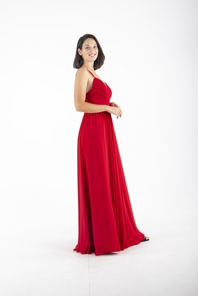 Ardanewline Kadın Kırmızı Ip Askılı Üzeri Drapeli Şifon Kırmızı Abiye & Mezuniyet Elbisesi 1301586 2