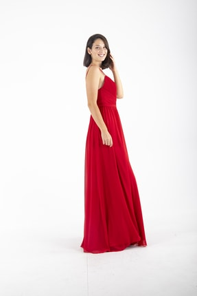 Ardanewline Kadın Kırmızı Ip Askılı Üzeri Drapeli Şifon Kırmızı Abiye & Mezuniyet Elbisesi 1301586 3