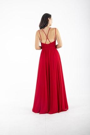 Ardanewline Kadın Kırmızı Ip Askılı Üzeri Drapeli Şifon Kırmızı Abiye & Mezuniyet Elbisesi 1301586 4
