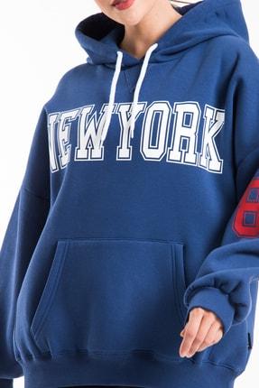 CAYA Kadın Indigo Mavi Baskı Detaylı Oversize Sweatshirt 4