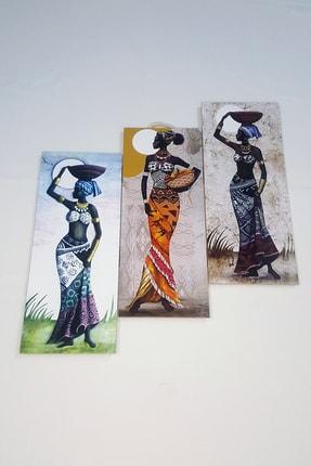 Sarı Tablo Afrikalı Kızlar Üçlü Tablo 0