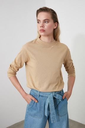 TRENDYOLMİLLA Camel Uzun Kollu Dik Yaka Basic Örme T-Shirt TWOAW20TS0233 0
