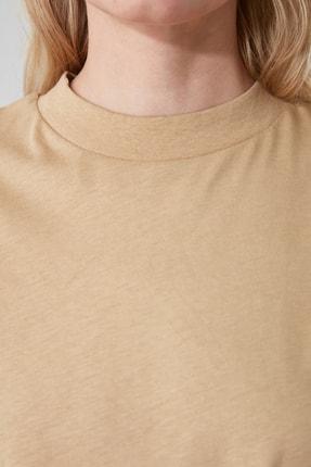 TRENDYOLMİLLA Camel Uzun Kollu Dik Yaka Basic Örme T-Shirt TWOAW20TS0233 1