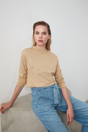 TRENDYOLMİLLA Camel Uzun Kollu Dik Yaka Basic Örme T-Shirt TWOAW20TS0233 2