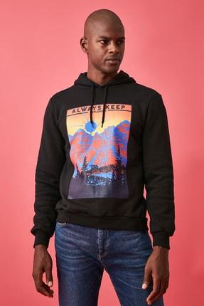 TRENDYOL MAN Siyah Erkek Baskılı Sweatshirt TMNAW21SW0476 1