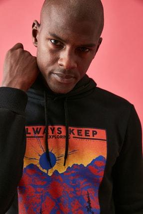 TRENDYOL MAN Siyah Erkek Baskılı Sweatshirt TMNAW21SW0476 2