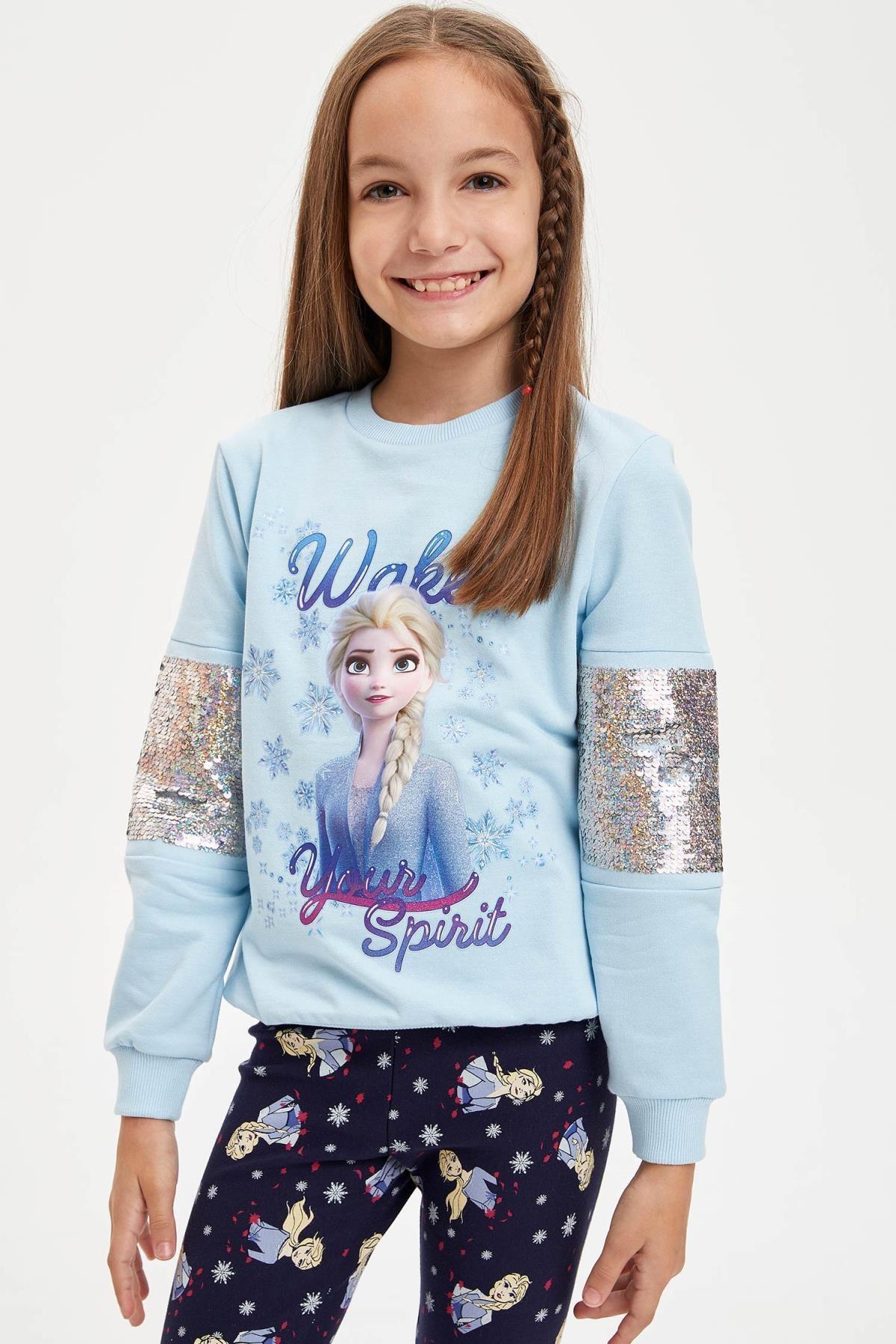 Defacto Kız Çocuk Frozen Lisanslı Payet İşlemeli  Sweatshirt 0