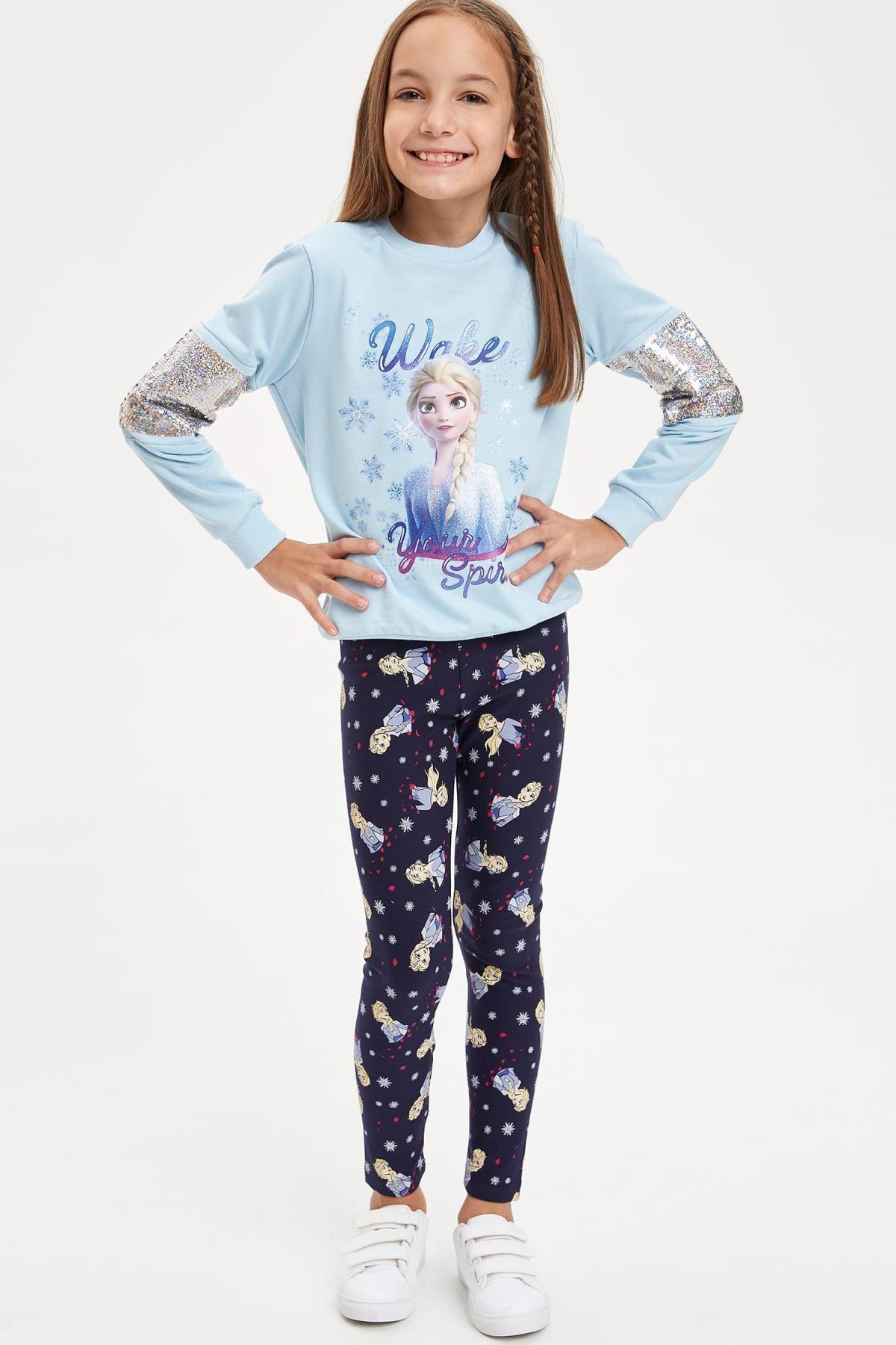 Defacto Kız Çocuk Frozen Lisanslı Payet İşlemeli  Sweatshirt 1
