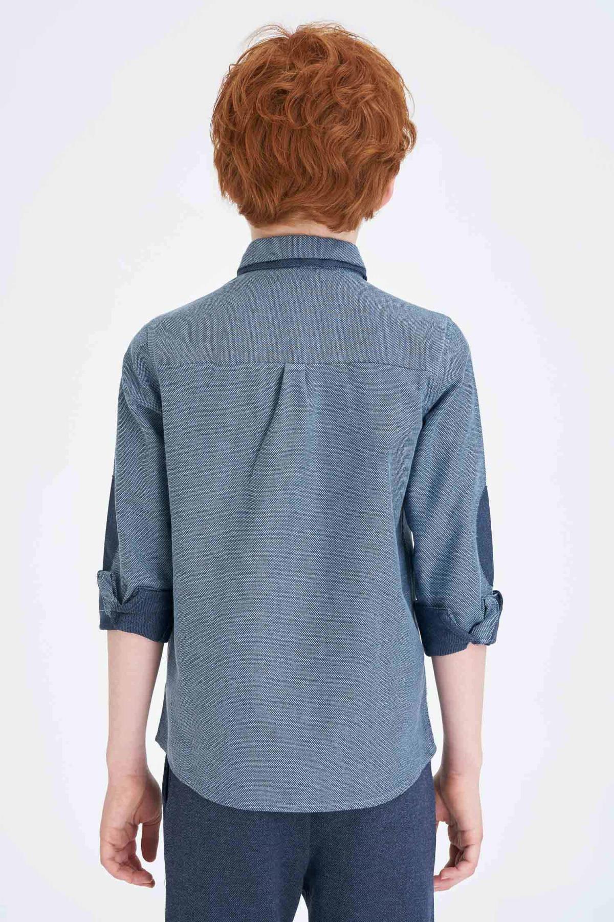 Defacto Erkek Çocuk Polo Yaka Uzun Kol Pamuklu Gömlek 1