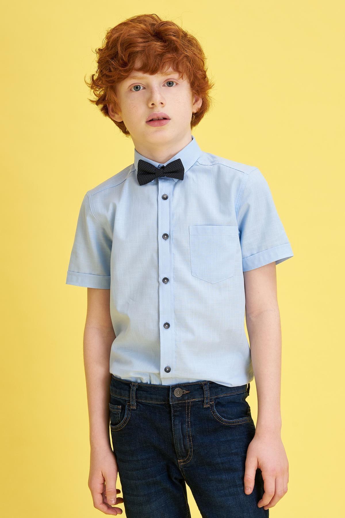 Defacto Erkek Çocuk Mavi Papyonlu Keten Görünümlü Kısa Kollu Gömlek 0